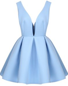 Blue V Neck Backless Midriff Flare Dress