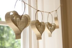 Recycled paper heart garland perfect for Valentine's Day. Decorate for a Valentines party with these. Wedding Bunting, Garland Wedding, Wedding Book, Wedding Ideas, Party Wedding, Wedding Church, Wedding Music, Wedding Art, Boho Wedding