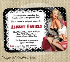 Bridal Shower Lingerie Party Pin Up Girl Invitations, PDF Design To Print Your Own, $15 via Etsy (Look: http://etsy.me/rhSfSO)