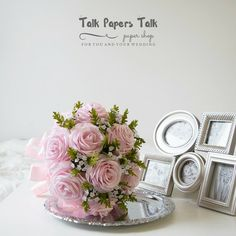 Items similar to Bridal bouquet - Crepe paper flowers - Rose bouquet - Blush pink - Wedding bouquet - Pink rose bouquet - Wedding flowers - Bridal flowers on Etsy Crepe Paper Flowers, Bridal Bouquets, Flower Arrangements, Place Card Holders, Unique Jewelry, Handmade Gifts, Rose, Pink, Wedding