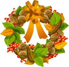 colorful clip art for the fall season grapevine and nuts wreath first day of autumn