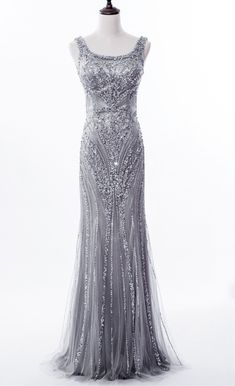 Grey Sequin and Beaded Embellished Floor Length Trumpet Evening Dress  Featuring Sleeveless Bodice with Square Neckline 956572330