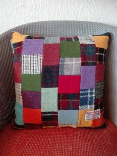 This item is unavailable Patchwork Cushion, Harris Tweed, Cushion Pads, Handmade Items, Handmade Gifts, Craft Supplies, My Etsy Shop, Cushions, Throw Pillows
