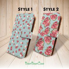 for iPhone 5 5s iPhone 5c pu leather case, Moto x pu leather case, vintage flower rose mint wallet flip cover leather case by BeanBeanCase, $12.99