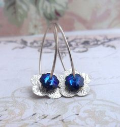 Earrings - Blue Saphire and Silver Flowers
