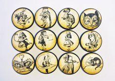 Alice In Wonderland Knobs  Pen and Ink door WallpaperYourWorld