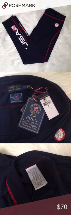 """Polo Ralph Lauren Olympic Leggings Workout Pants Thanks for stopping by! These cute Polo Ralph Lauren leggings are new with tags and could be yours! Size Large. Sold out online!  Waist across: 15.5"""" Inseam: 29.5""""  90% Cotton, 10% Elastane  Made in Peru   Elasticized waistband Friction-minimizing flat seams throughout """"USA"""" and flag graphic printed at the front right leg """"Polo Ralph Lauren"""" print at the back left leg Cotton/elastane Machine washable Imported *Comes from a pet free and smoke…"""