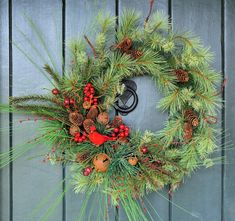 Winter Welcome  Pine Bell and Berry Wreath от WillowgaleDesigns