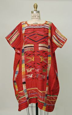 Ensemble  Date: 1800–1942 Culture: Mexican Medium: (a) cotton, wool, silk (b) wool, cotton (c) cotton (d) beads