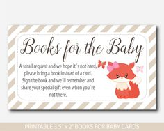 Woodland Bring a book instead of a card inserts, Fox baby shower books for the baby cards, Fox book request, Baby shower fox inserts, BF2-14