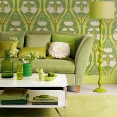 Love this wall paper. OH love it. Pillow is gorgeous and greens are awesome.