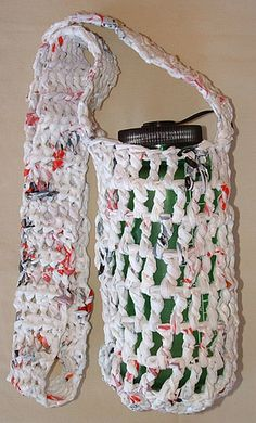 Water bottle carrier crocheted from recycled plastic bags