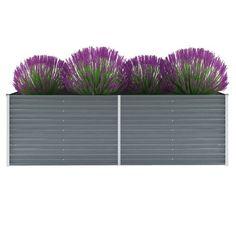 vidaXL Planter Galvanized steel 240 x 80 x 77 cm Gray Outdoor Planter Boxes, Metal Planter Boxes, Garden Planters, Planter Pots, Steel Planter, Box Garden, Porch Garden, Garden Ideas, Raised Planter