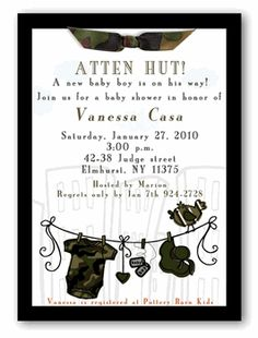 Military Baby Shower Invitation - Boy  BRITTANY BISHOP ONE DAY YOU WILL USE THIS... Sooner rather than later please ;)