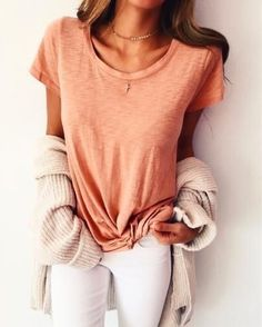 Outfits casuales que debes intentar este mes! : casual tee shirt with white skinny jeans and free people cardigan. Spring Summer Fashion, Autumn Winter Fashion, Spring Outfits, Style Summer, Casual Summer, Mode Outfits, Casual Outfits, Fashion Outfits, Moda Casual