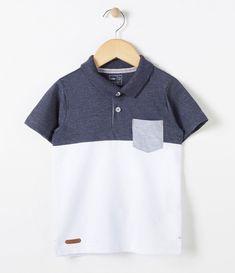 258560d7808fd Camiseta infantil Manga curta Gola polo Com bolso Com recortes Marca  Póim  Tecido  piquet