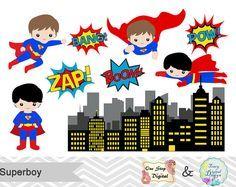 Superhéroe digital Clip Art, superhéroe Digital Clipart, súper héroe muchachos Digital Clip Art, niño de Superman, superhéroe Pop Art texto burbujas 00184