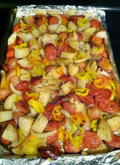 Oven-roasted Sausages, Potatoes, and Peppers.  Not spectacular, but very easy and the husband liked it.