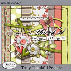 Truly Thankful mini kit freebie from Pixelily Designs #scrapbook #digiscrap #scrapbooking #digifree #scrap