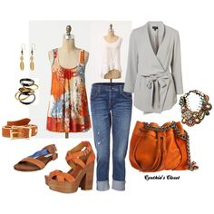 Love the color, already have the greys working and the jeans, cute flats for me and great Summer top, easy, breezy, beautiful!  Untitled #70, created by deeloman57.polyvore.com