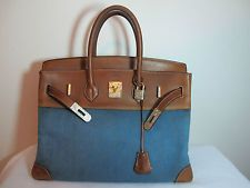 Authentic Hermes Natural Barenia Blue Jean Birkin 35cm Silver Engraved Hardware