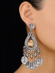 Pair of Lord Ganesha Silver Earrings