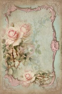 Light pink roses on scroll frame..