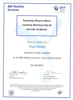 Queen Elizabeth's Foundation (QEF) - Qualified: Teaching People With Learning Difficulties and Autism to Drive