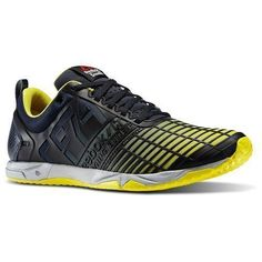 f154b18d3c2 Reebok Mens Crossfit Sprint TR Training Shoe Reebok Navy Stinger  Yellow Metallic Silver M US
