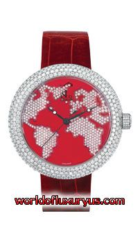 Jacob & Co. - Crystal Collection - CR47SR-F (Stainless Steel / World map dial Dial / Red Leather) - See more at: http://www.worldofluxuryus.com/watches/Jacob-and-Co/Crystal/CR47SR-F/328_767_5816.php#sthash.340Ylifl.dpuf