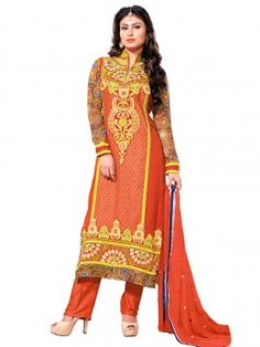 Orange Faux Georgette Suit With Embroidery Work www.saree.com
