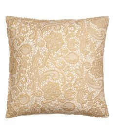 Lace Cushion Cover - Gold - Home Decor Gold Cushions, Gold Home Decor, H&m Home, Decor Interior Design, Interior Designing, Throw Pillow Covers, Cushion Covers, Soft Furnishings, Bed Pillows