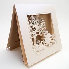 Romantyczne laserowo wycinane Zaproszenia ślubne F1417 w ForumDesignCards na Etsy Ecru Color, Wedding Invitations, Delicate, Romantic, Paper, Prints, Cards, Etsy, 3d