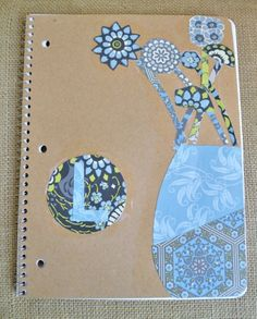 A great way for kids' to decorate their plain notebooks for back-to-school - paper and Mod Podge!