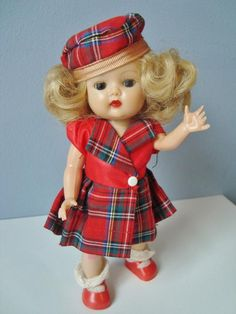 1957 Nancy Ann Storybook MUFFIE Doll Strung Unmarked in Original Plaid Outfit