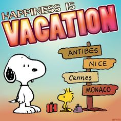 Happiness is vacation. #ThePeanuts #Snoopy