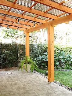 The pergola kits are the easiest and quickest way to build a garden pergola. There are lots of do it yourself pergola kits available to you so that anyone could easily put them together to construct a new structure at their backyard. Pergola With Roof, Outdoor Pergola, Wooden Pergola, Backyard Pergola, Pergola Shade, Patio Roof, Pergola Plans, Backyard Landscaping, Pergola Ideas