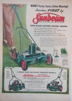 SUNBEAM ROTARY LAWN MOWER AD 1950s original retro vintage advert advertising