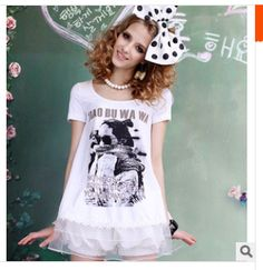 2014 summer sweet women's print gauze laciness o-neck short-sleeve slim party  t-shirt whole and retail free shipping $17.03