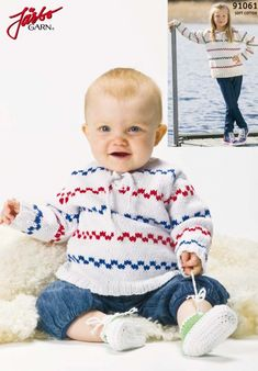 The classic Pippi sweater. Knitting For Kids, Baby Knitting Patterns, Free Knitting, Crochet Baby, Knit Crochet, Baby Pullover, Baby Boom, Instagram And Snapchat, Baby Sweaters