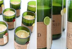 Here's another wine-related repurposing find: Empty wine bottles used as candle holders -- filled with (wine-scented) soy wax. 