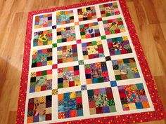 Good idea for an I Spy quilt.  I like the larger blocks surrounded be the smaller ones.