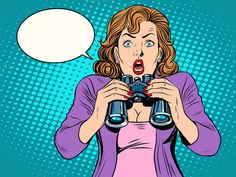 Surprised girl with binoculars by studiostoks on @creativemarket