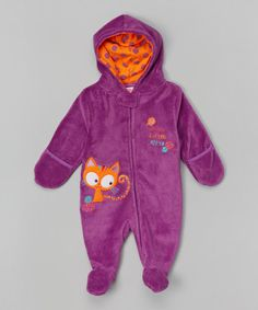 Purple Kitten Appliqué Hooded Footie by Nûby on #zulily! Wish I would have another little girl to justify buying this outfit...but my family is complete and I only have a nephew...