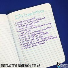 Interactive Science Notebook Tips: My Expectations
