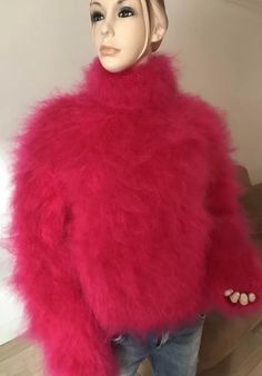 Gros Pull Mohair, Red T, Mohair Sweater, Sweater Fashion, Mantel, Cashmere, Fur Coat, Turtle Neck, Women's Sweaters
