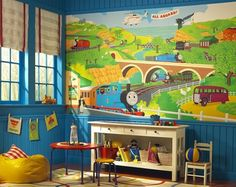 Thomas the Train Wall Mural for Thomas Themed Toddler Boys Rooms