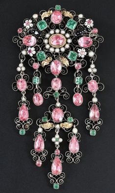 Corsage, Tourmaline Rose, Antique Earrings, Emeralds, French Antiques, Wind Chimes, Bodice, Tassels, Gems