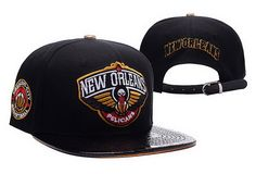 NBA New Orleans Pelicans Black Strapback Hats Brim Shine Leather|only US$8.90 - follow me to pick up couopons.