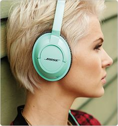BOSE SoundTrue around-ear headphones in mint.